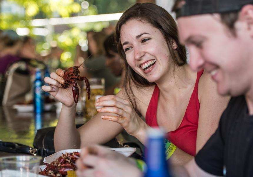 Couple Eating crawfish