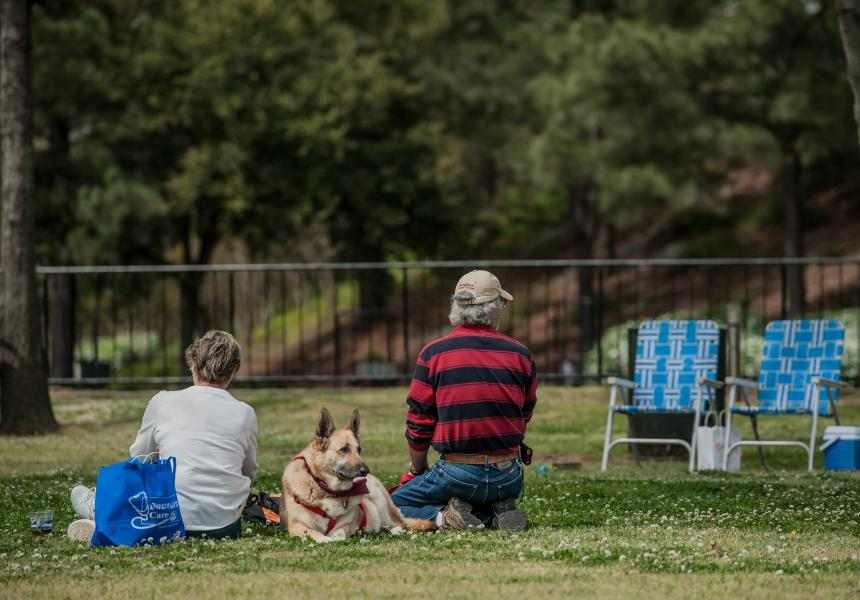 Family and dog enjoying a picnic