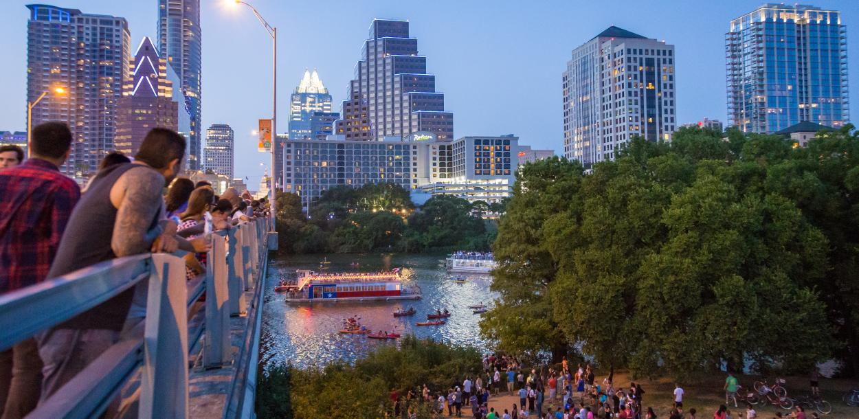 People waiting to see bats on congress avenue bridge in austin texas