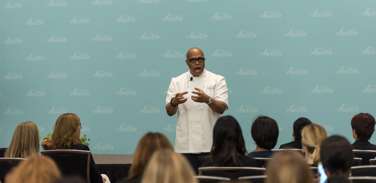 Chef Jeff speaking at Visit Austin Tourism and Hospitality Career Fair