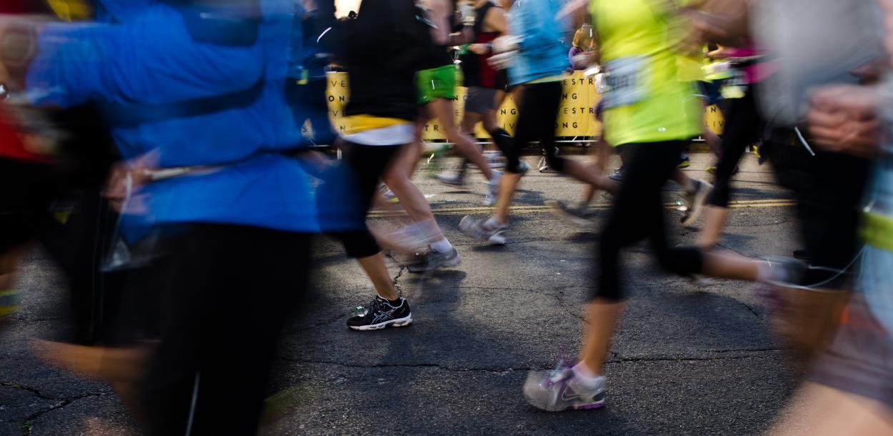 runners legs during the Austin Marathon in austin texas
