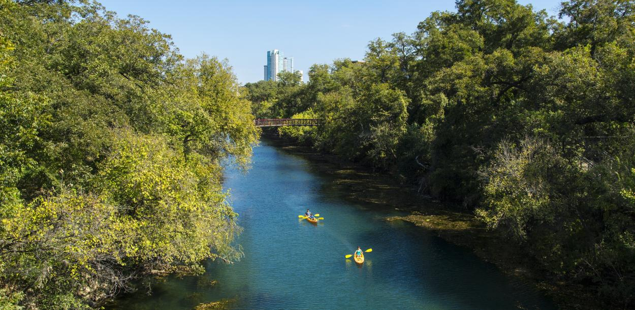 Kayaking through the Barton Creek Greenbelt in austin texas