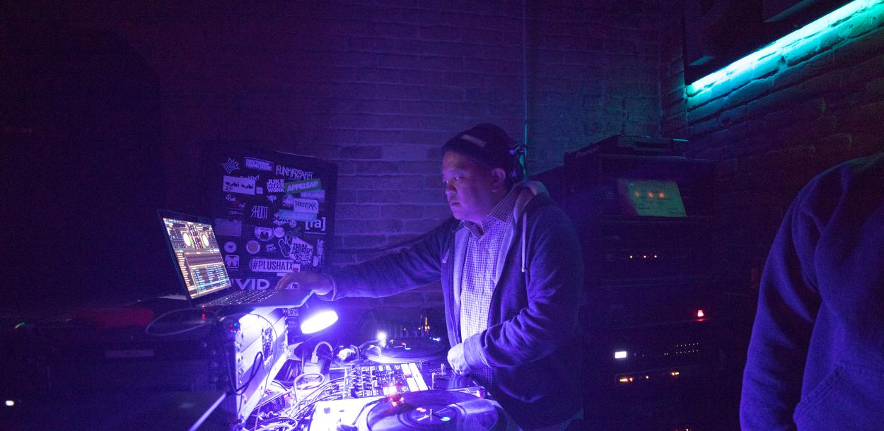 Chef and DJ Takuaya Matsumoto at Plush venue in austin texas