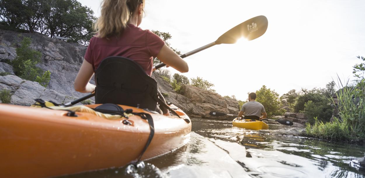 Couple Kayaking in Marble Falls Texas