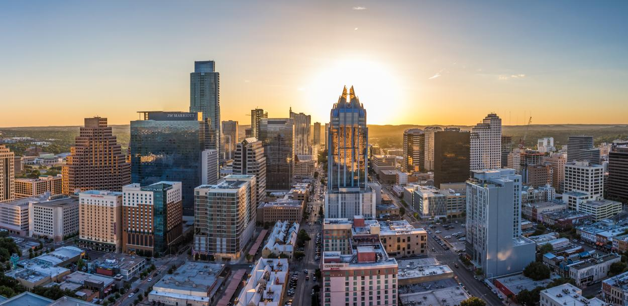 Austin texas Skyline Panoramic from East
