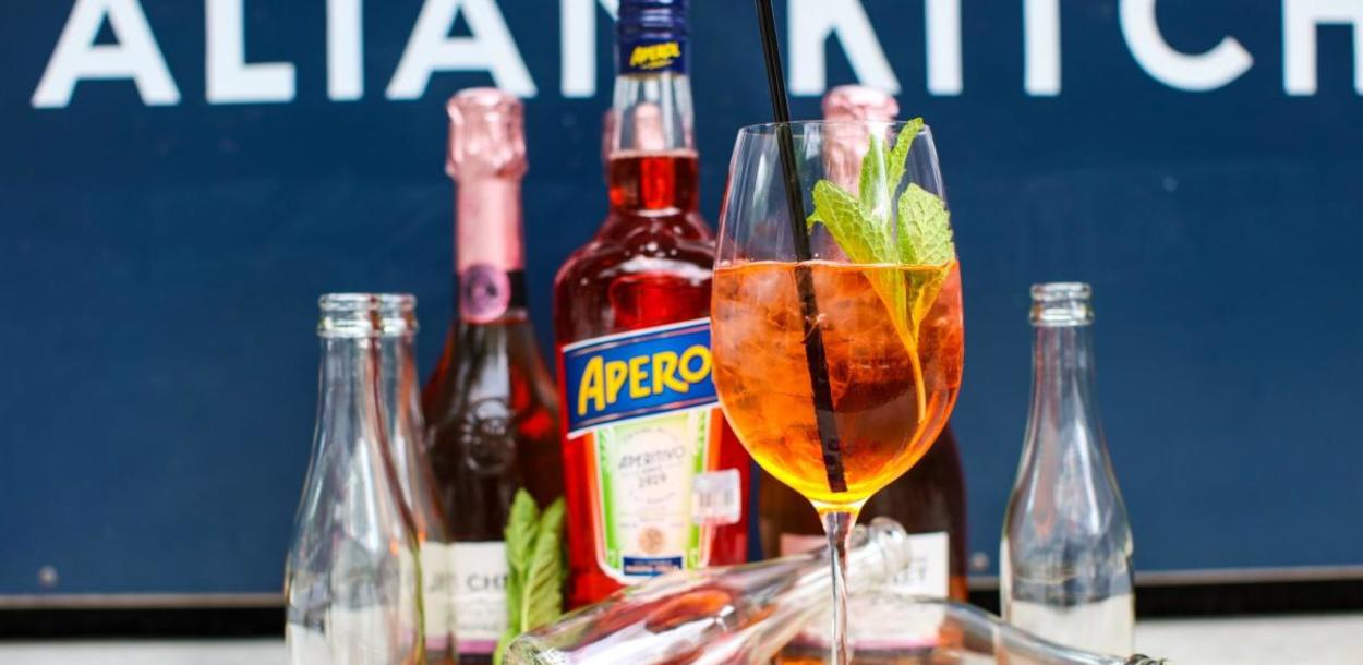 Aperol Spritz cocktail kit from Juliet Italian Kitchen in Austin Texas