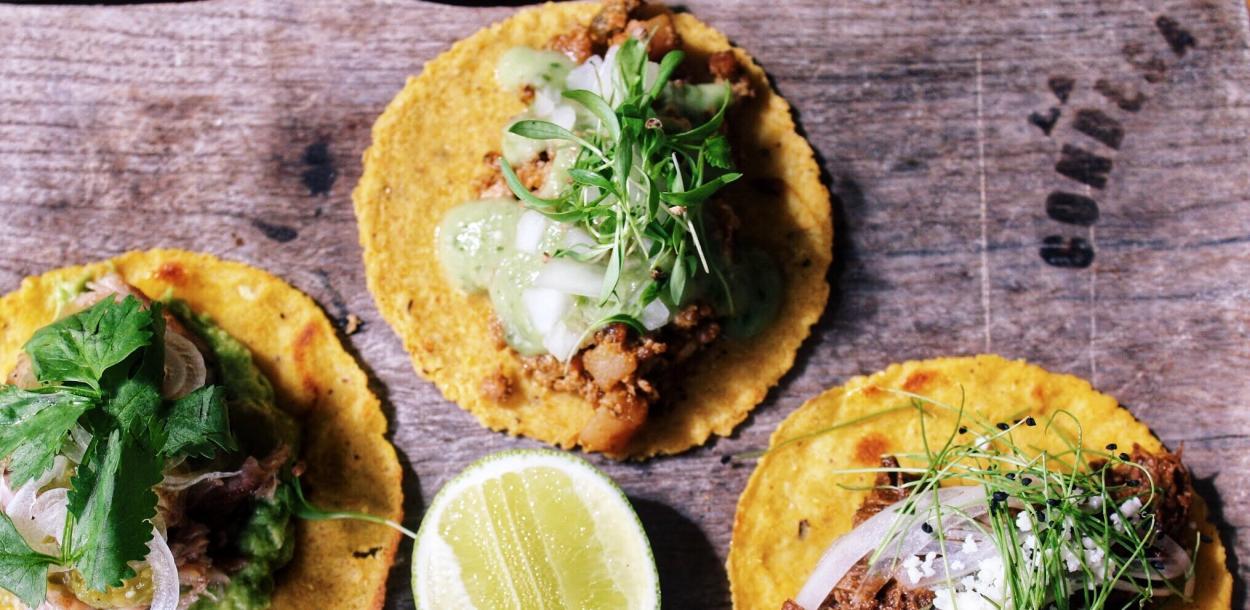 Three open faced tacos from La Condesa in Austin Texas