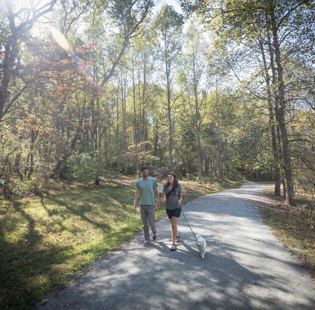 Couple walking their dog on Saunders-Monticello Trail