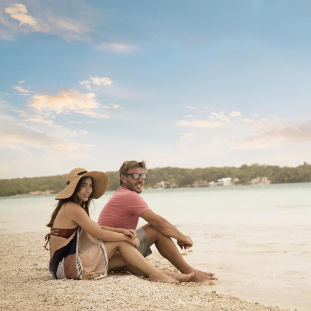 Couple on Bacalar Beach