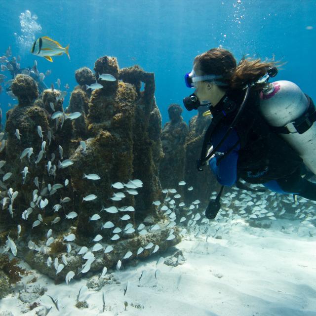 Scuba Diver near Underwater Statues