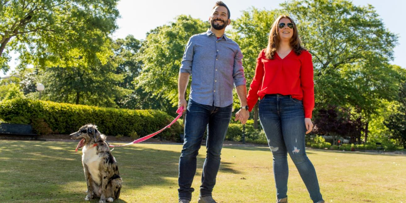 UGA Herty Field Couple w Dog