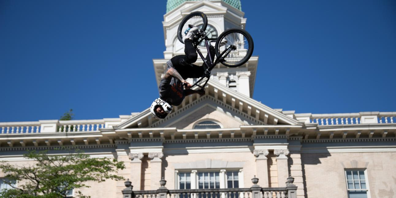 Athens Twilight stunt bikes at City Hall