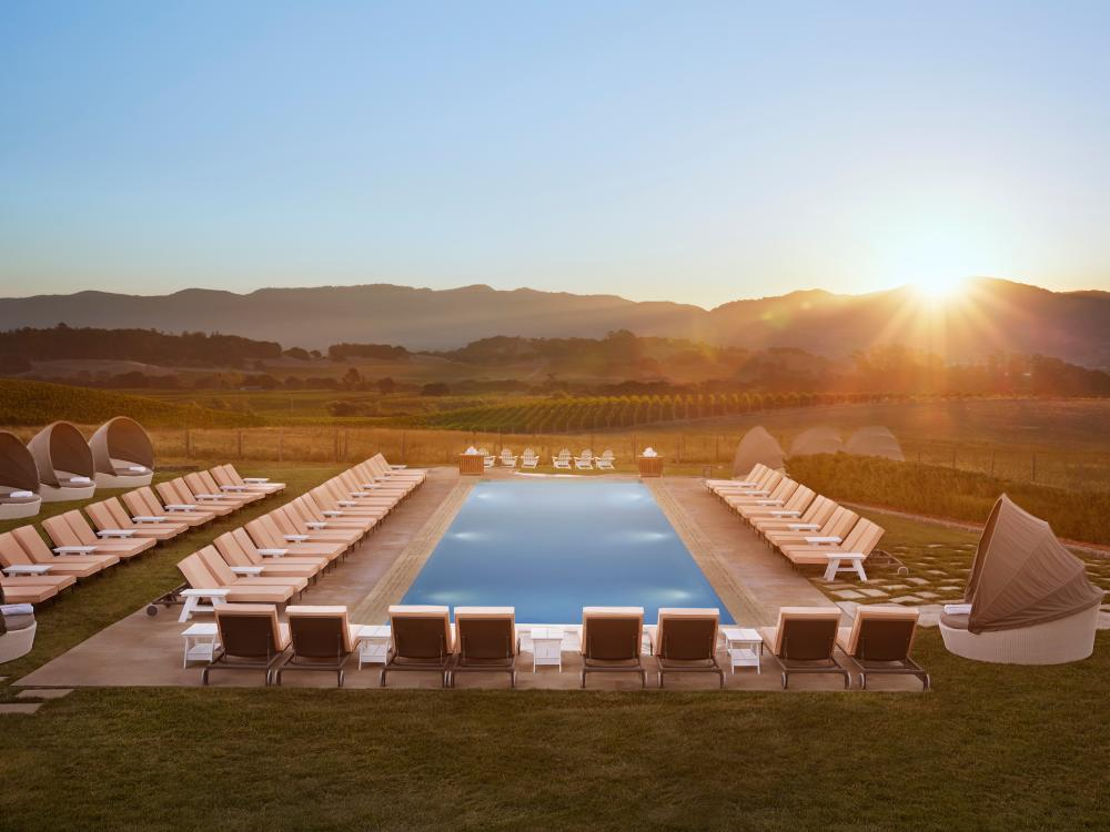 Carneros Resort & Spa pool in late afternoon sun