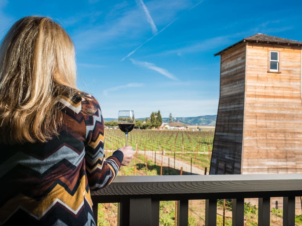 Woman drinking wine at Napa Valley winery