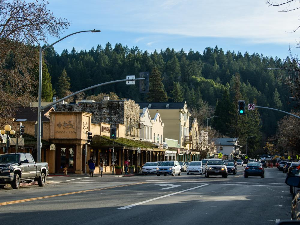 Calistoga locals go about their day against a beautiful mountain backdrop