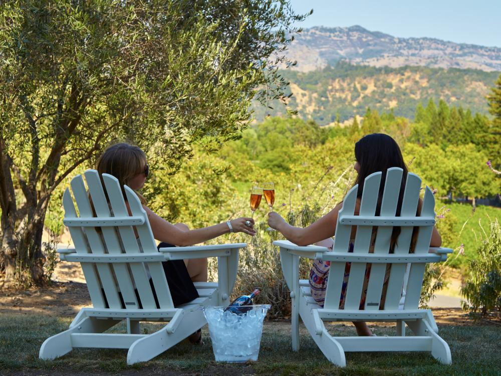 Two women sitting in Adirondack chairs holding a glass of wine overlooking the Domaine Chandon Winery in Napa Valley
