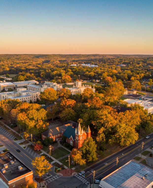 Aerial view of downtown Milledgeville, GA in fall