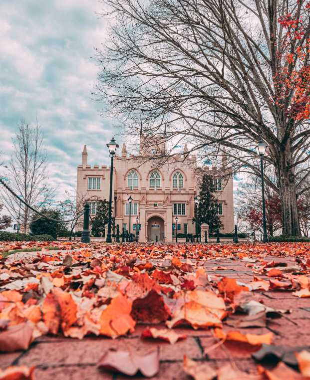 Exterior view of Milledgeville GA's Old State Capitol Building during fall