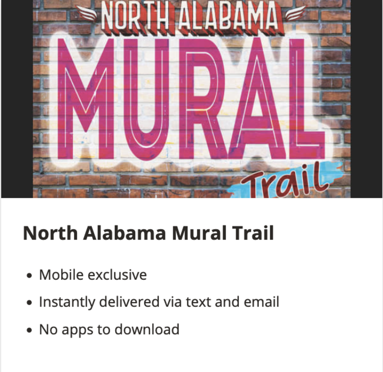 MURAL TRAIL MOBILE APP  Our murals are close enough to each other that you can visit several in a day and experience them all in a long weekend. Check-in at 25 different sites using our Mobile App and we will send you a prize for participating!
