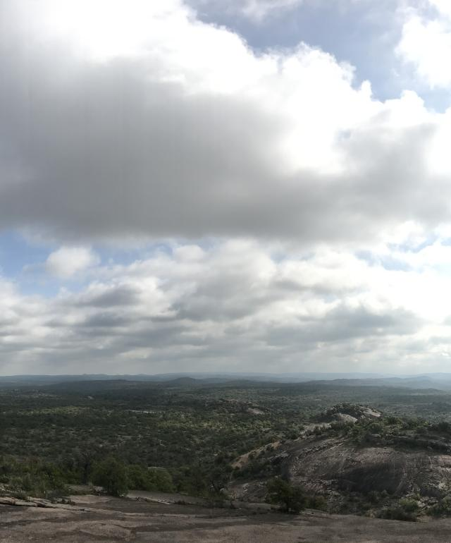 View of the sky and hill country from the Enchanted Rock State Natural Area