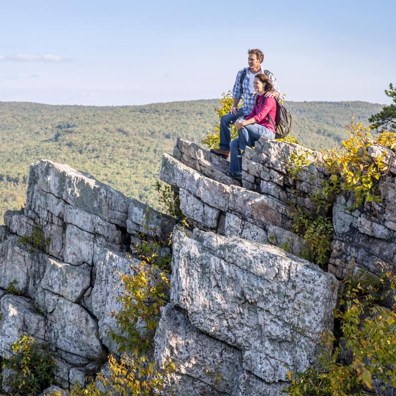 Couple looking out on the Pole Steeple Trail at Pine Grove Furnace State Park