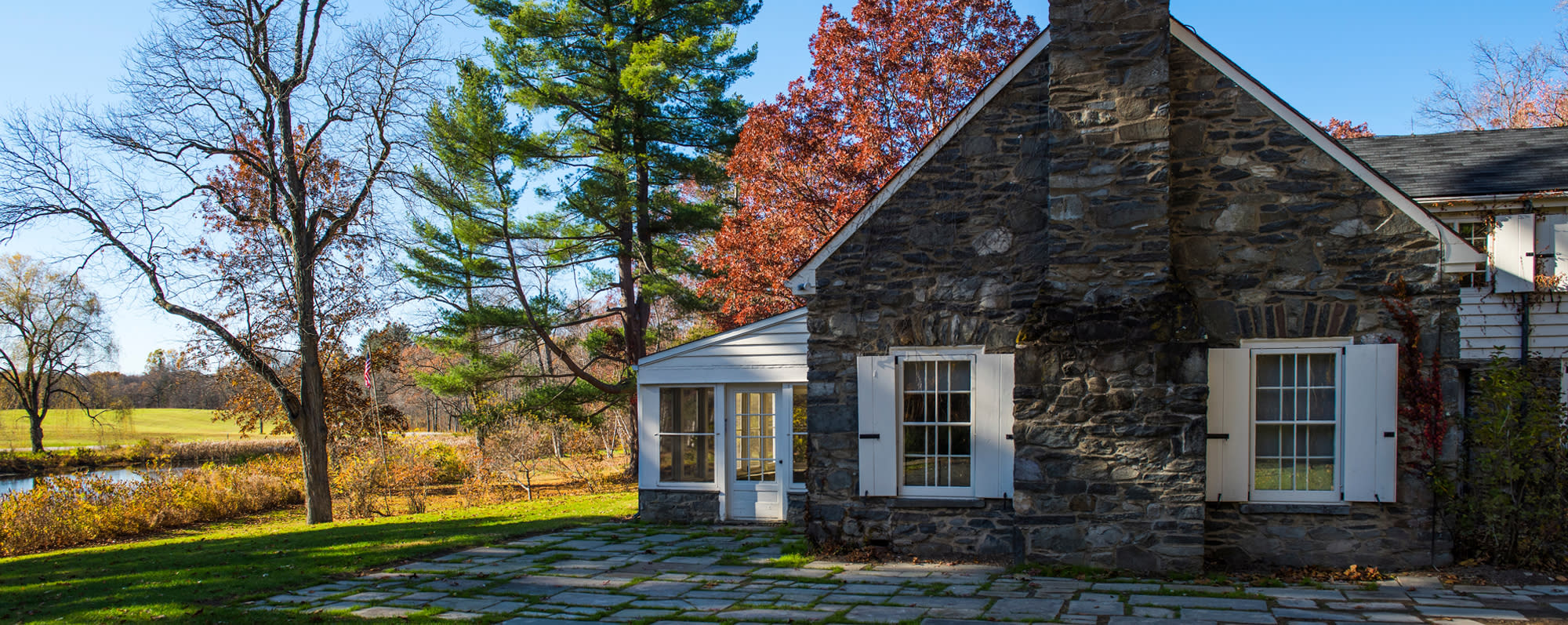 The exterior of Eleanor Roosevelt National Historic Site on a fall day