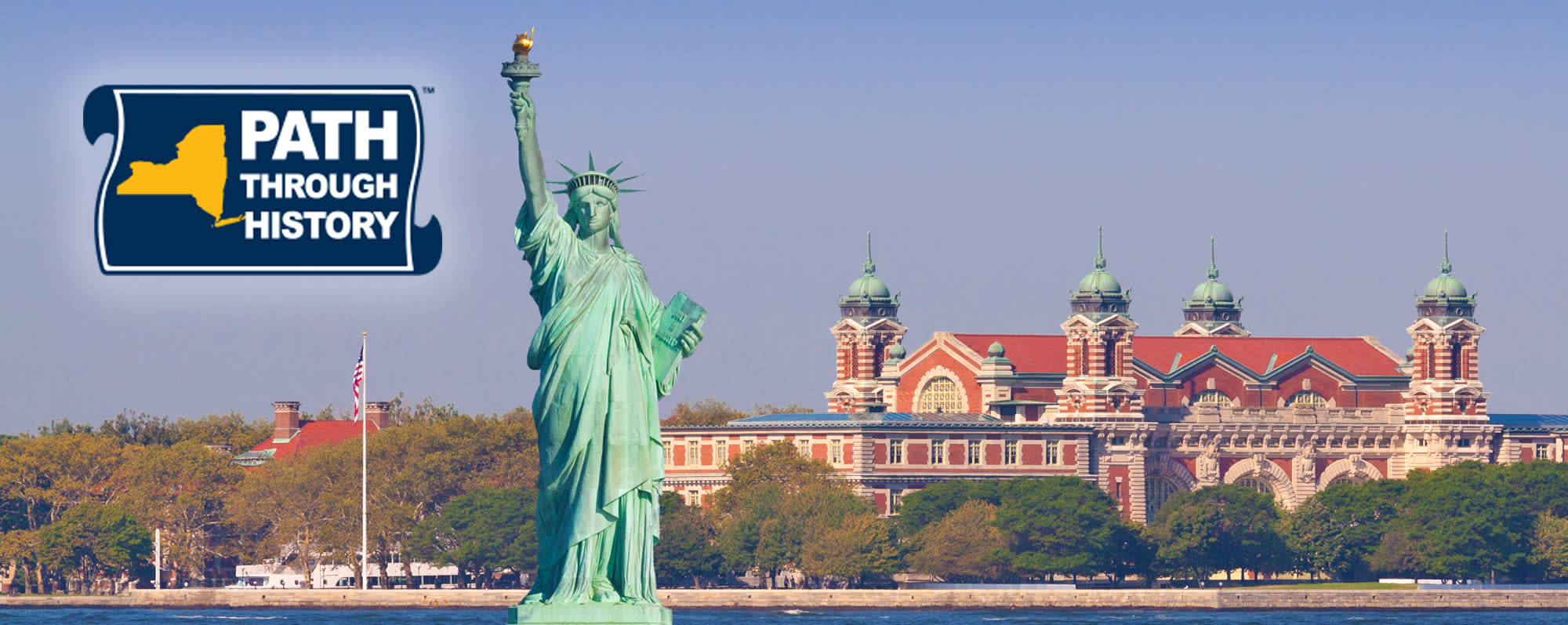 The Path Through History logo on a photo with the Statue of Liberty and Ellis Island