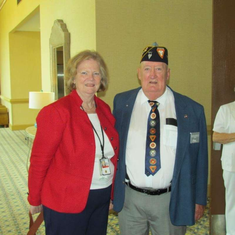 Photo of an older American soldier and his wife at the Cape Fear Fleet 259 military reunion