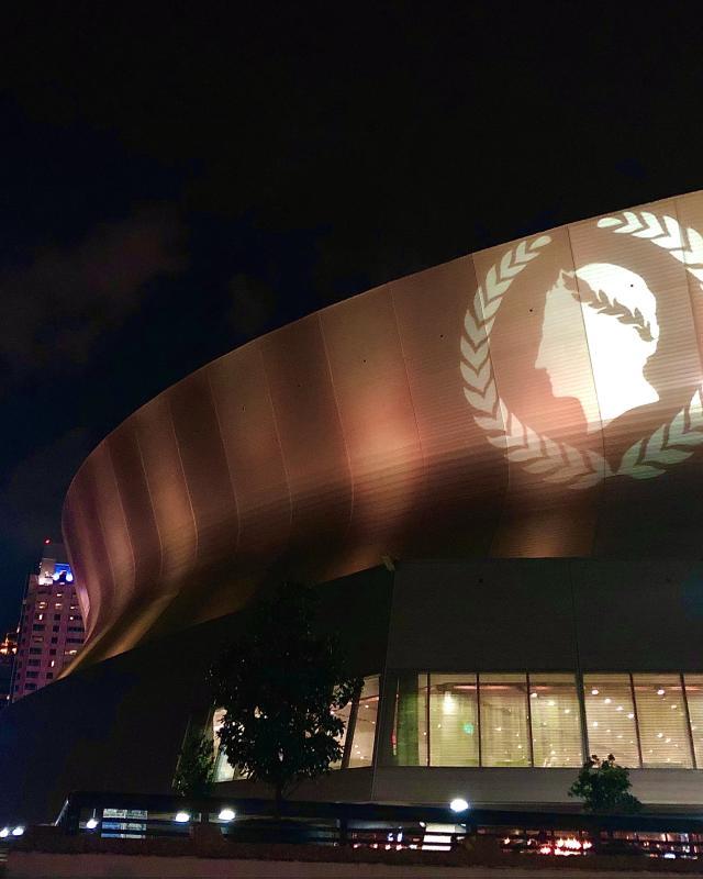 Caesars Superdome Exterior Night