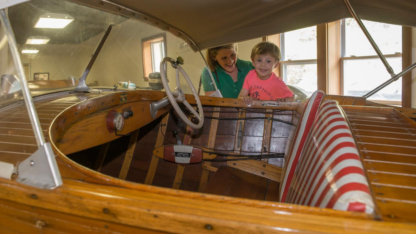 kid at Finger lakes boating museum
