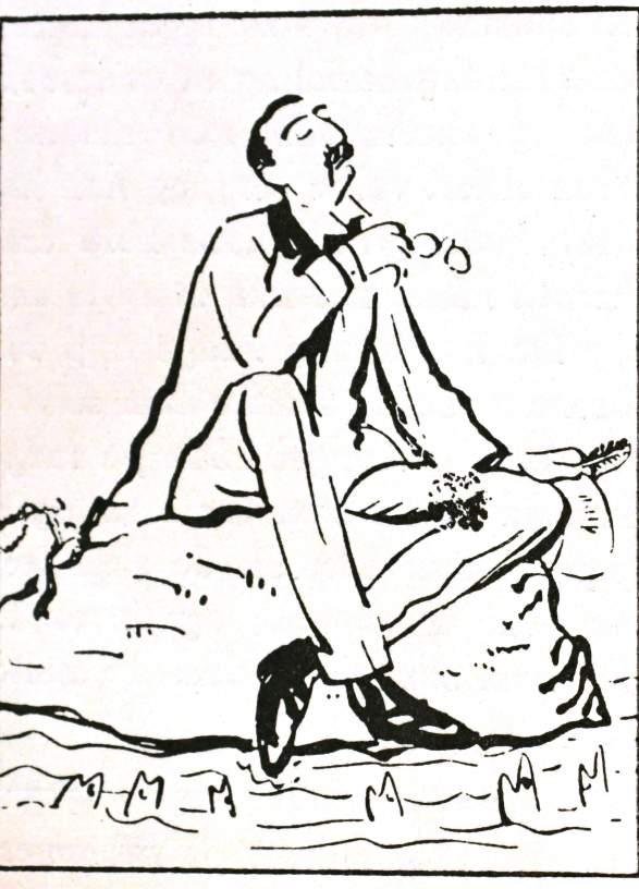 "Vilhelm Krag tegning ca 100 år gammel: ""Krag taler til fiskene paa sin Ø"""
