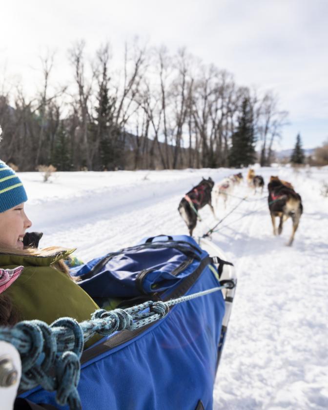 Children Dog Sledding at Stillman Ranch