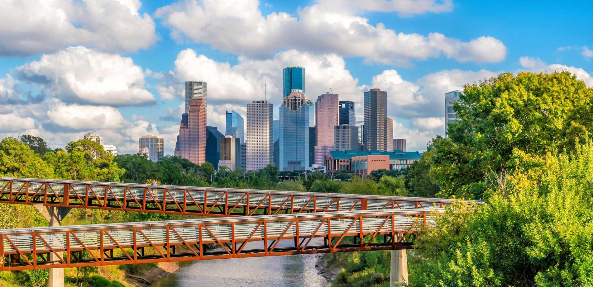 Downtown Houston Skyline over Bayou