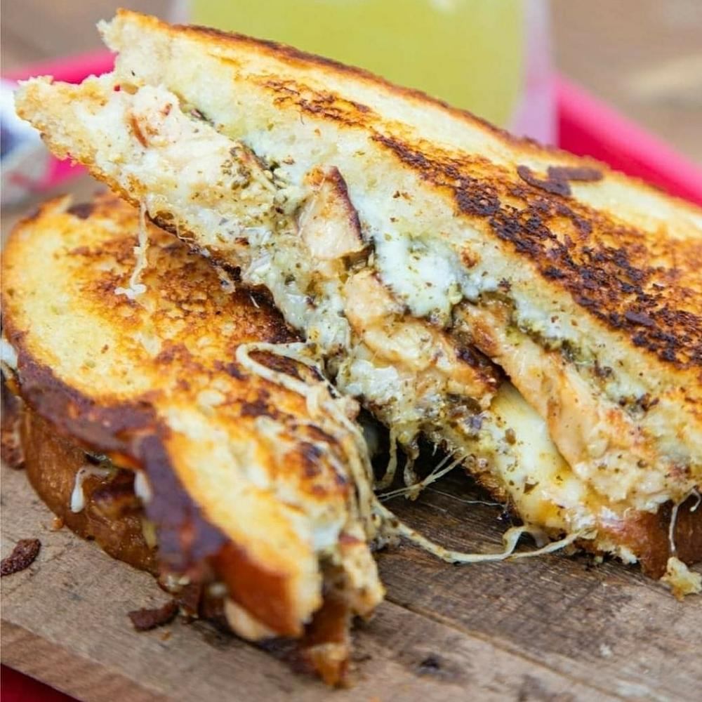 Grilled Chicken Pesto Grill Cheese from Emojis Grilled Cheese in Austin Texas