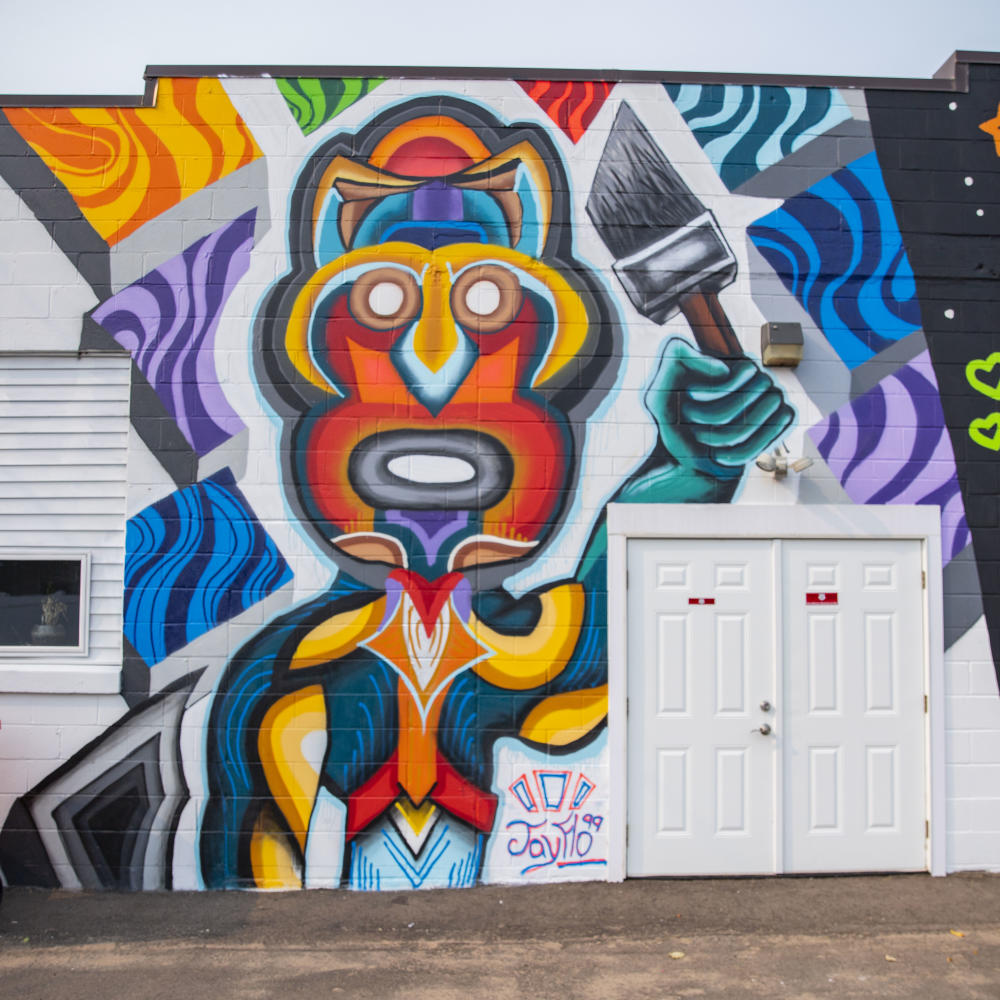 Funky Artist Mural in Color Block in Downtown Eau Claire, WI