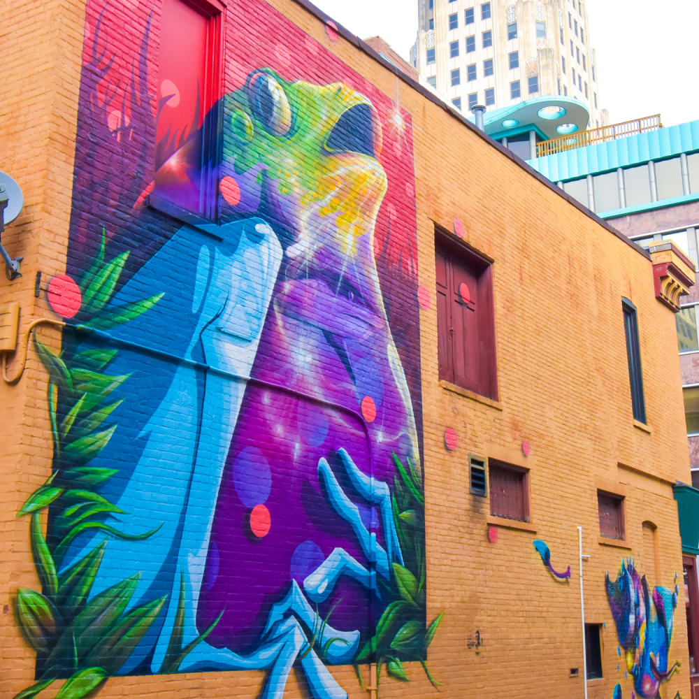 Mural by artist Nosego in downtown Fort Wayne