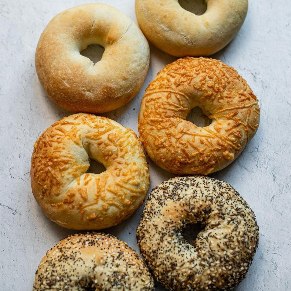 six bagels from GK Baked Goods lined up
