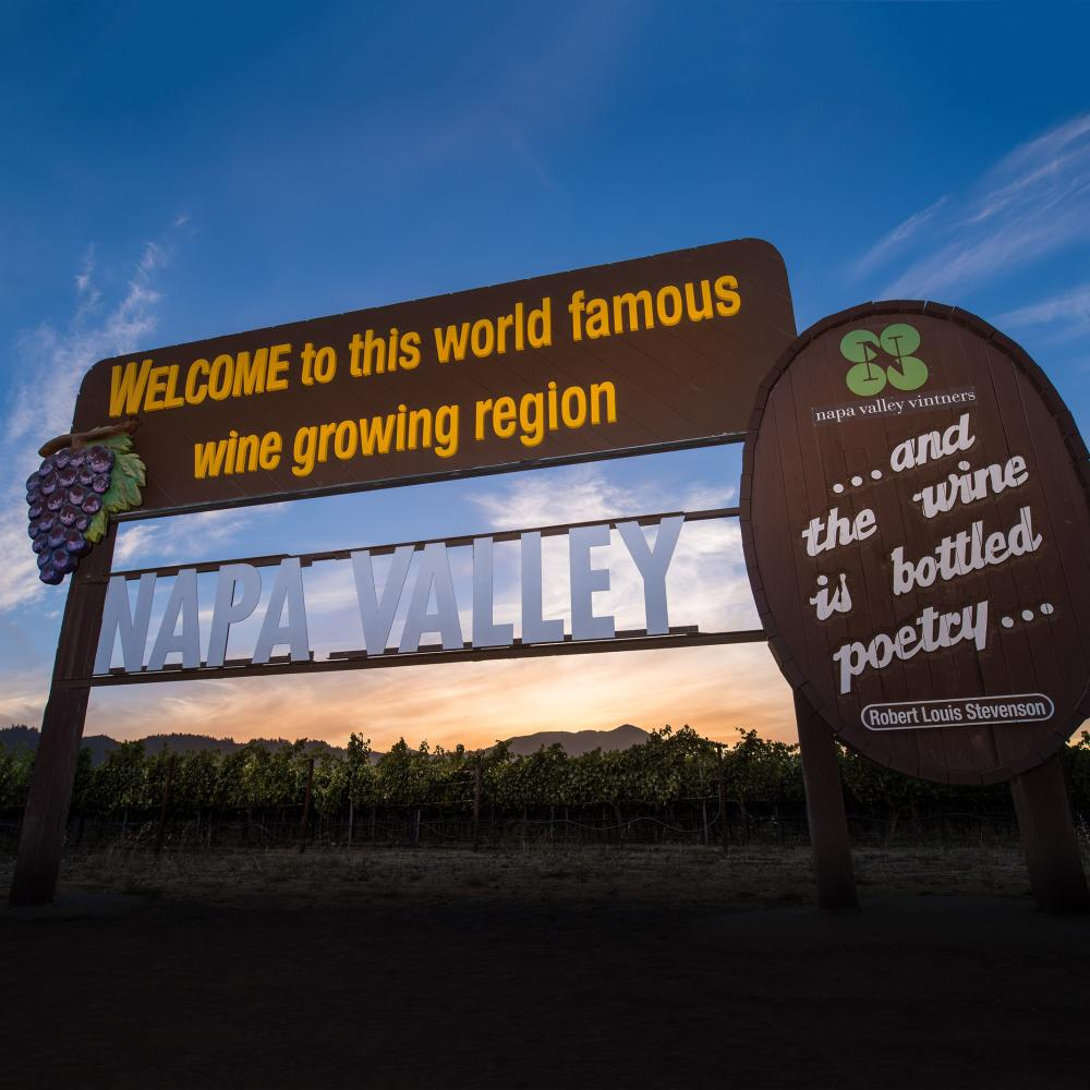 Welcome to Napa Valley Sign at Sunset