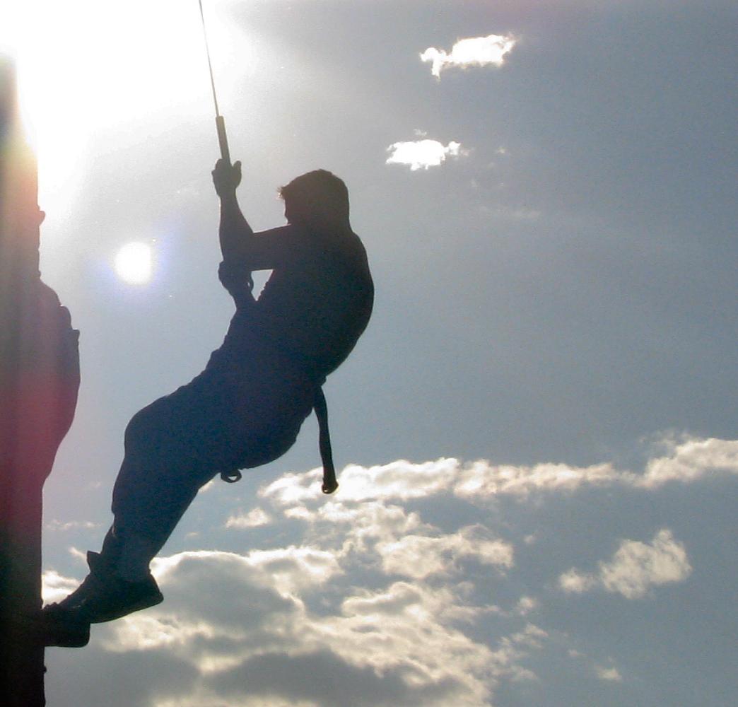 Rock climbing in the sun
