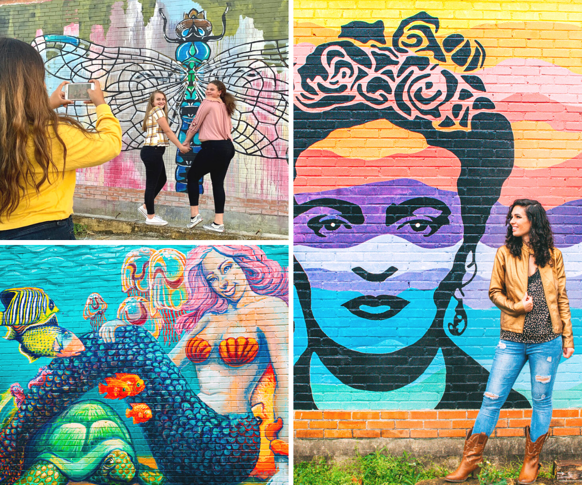 A trio of images highlighting the colorful murals found on Beaumont's Fannin Street.