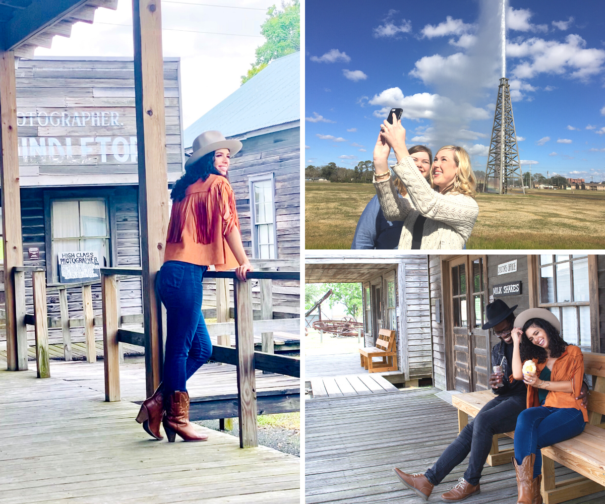 A picture collage of images showing the attractions at Spindletop & Gladys City Boomtown Museum.