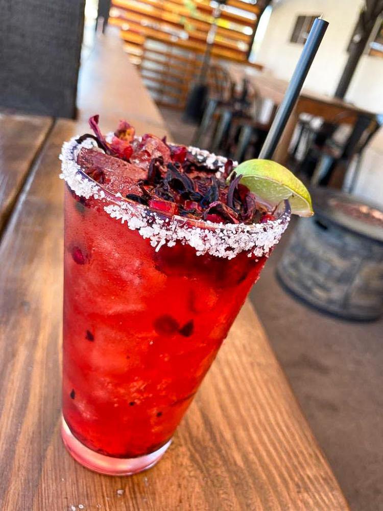 Takos & Beer Pomegranate Hibiscus Margarita