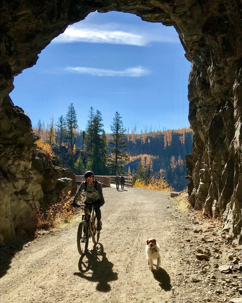 Biking through tunnel at Myra Canyon Trestles During Larch Season