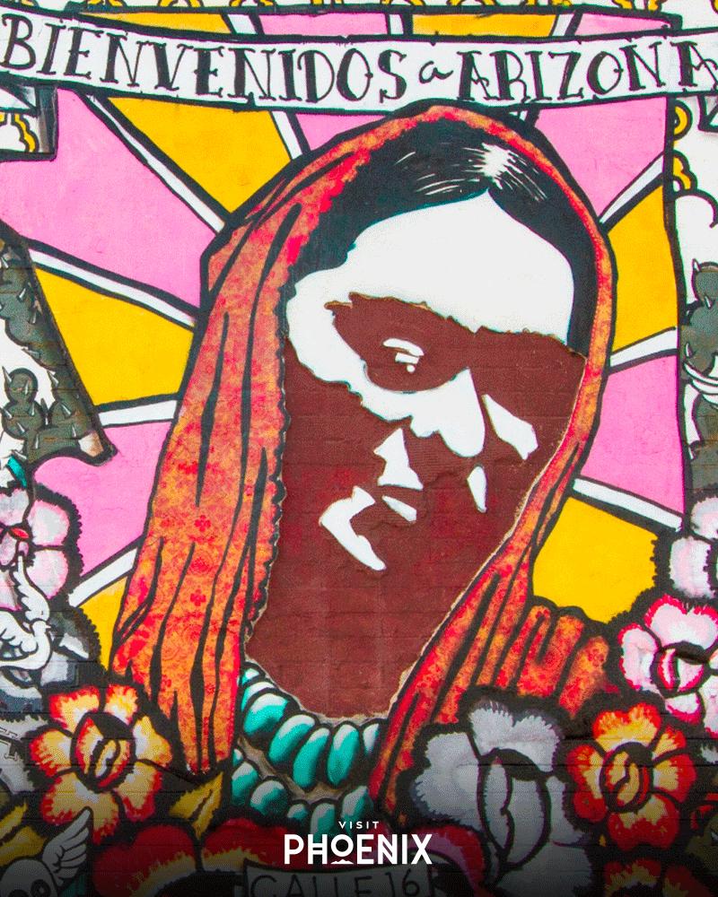 "A mural saying ""Bienvenidos a Arizona"""