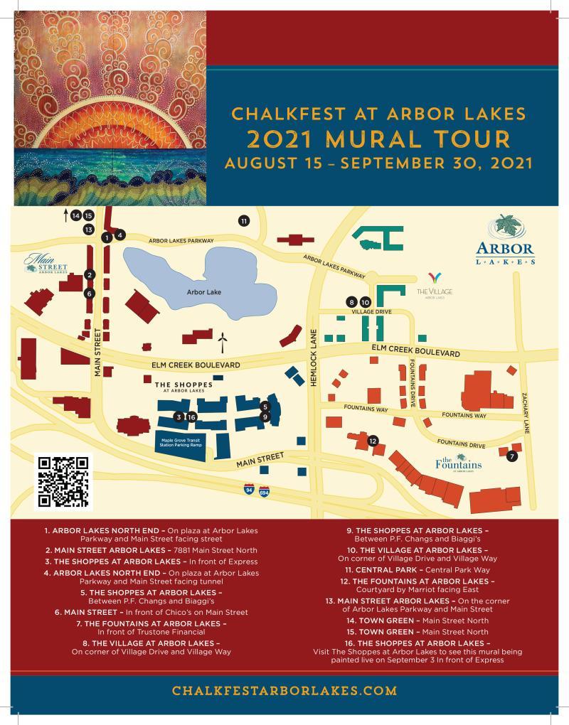 Map of art mural tour in Arbor Lakes
