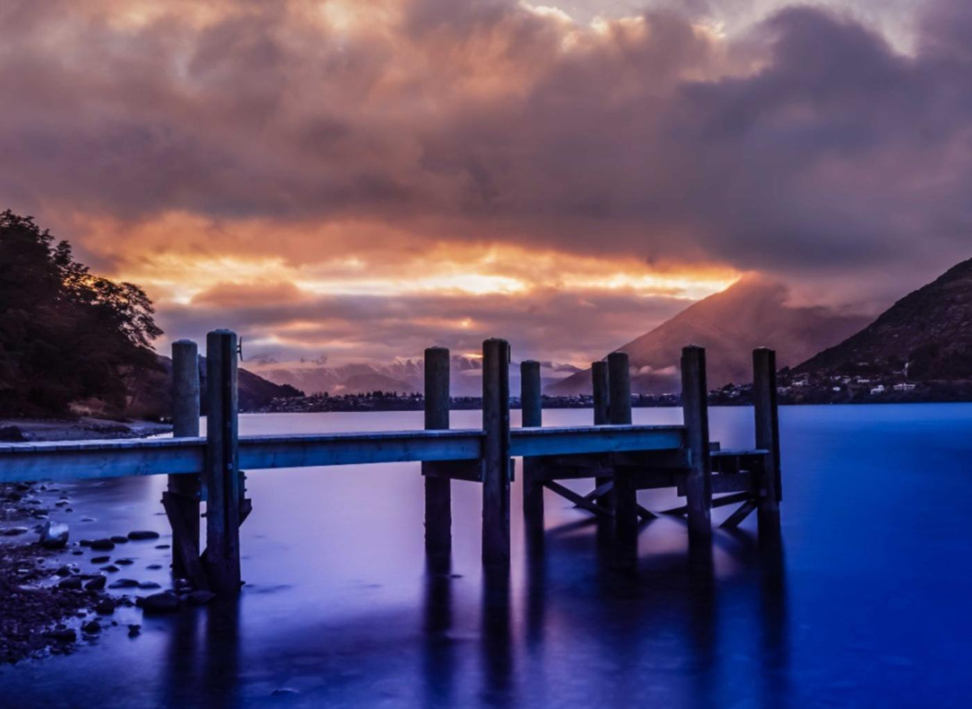 Frankton Arm pier at sunrise