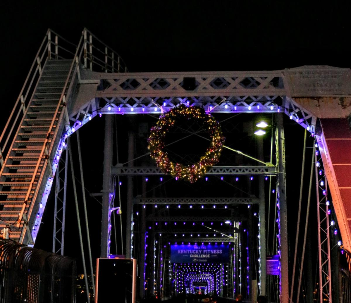 The Purple People Bridge, from Newport Ky to Cincinnati Oh, decorated with Holiday Lights and a Christmas wreath