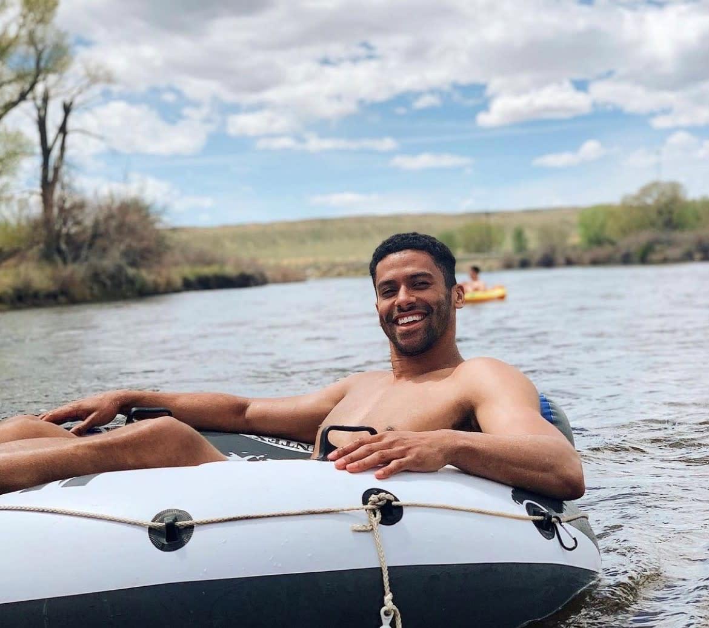 Man Floating on Innertube in Casper, Wyoming