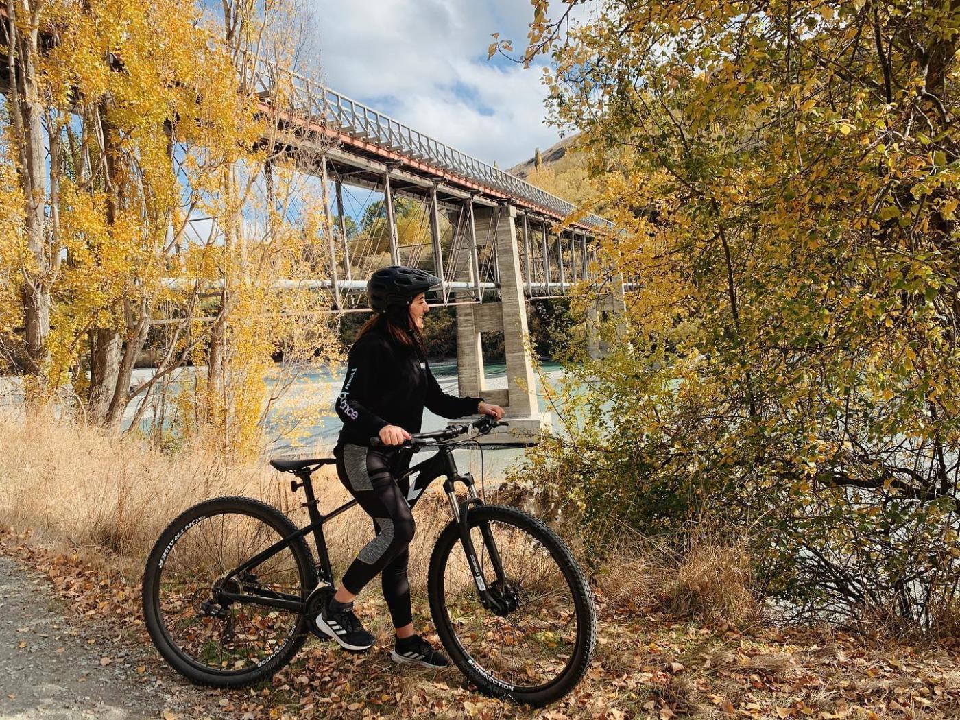 Biking the Twin Rivers Trail in Autumn, beside the Lower Shotover Bridge