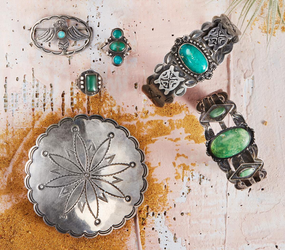 Vintage bird pin with turquoise, Vintage Navajo pinkie ring, Vintage three-stone turquoise ring, Vintage crossed arrows cuff, Vintage Navajo stamped dish, Vintage Cerrillos cuff